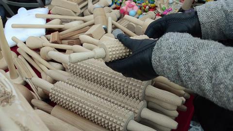 handmade wooden kitchen utensil tool pin hand glove market fair Footage