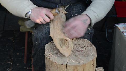 carpenter hands chisel graver tool work carve wood festival Footage