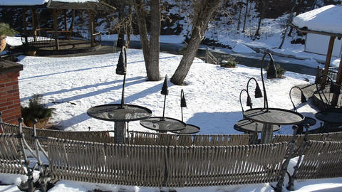 original design tables outdoor cafe river water flow winter park Live Action