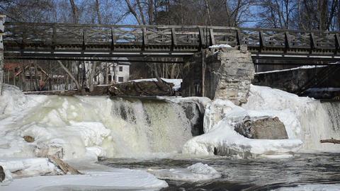 river waterfall cascade retro bridge ice snow icicles winter Footage