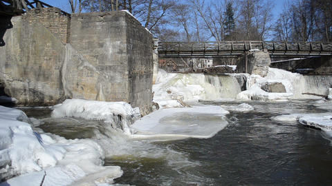 river waterfall cascade retro bridge frozen ice icicles winter Footage