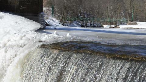 amazing waterfall ice edge water glance shine sun reflection Footage