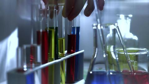 Laboratory CSI 196 investigating dolly stylized Stock Video Footage