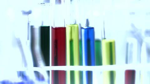 Laboratory CSI 208 investigating dolly stylized Stock Video Footage