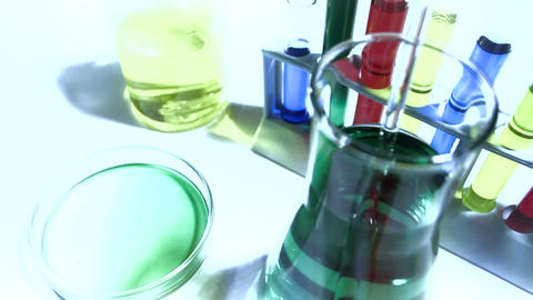Laboratory CSI 218 investigating dolly stylized Stock Video Footage