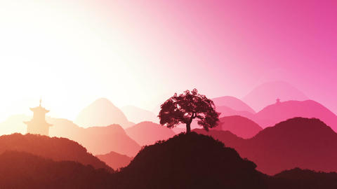 Magical Oriental Sunset over Mountains 01 Stock Video Footage