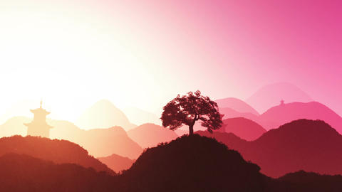 Magical Oriental Sunset over Mountains 01 Animation