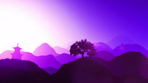 Magical Oriental Sunset over Mountains 03 Stock Video Footage