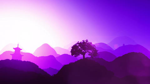 Magical Oriental Sunset over Mountains 03 Animation