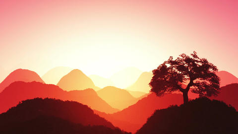 Magical Oriental Sunset over Mountains 05 Stock Video Footage