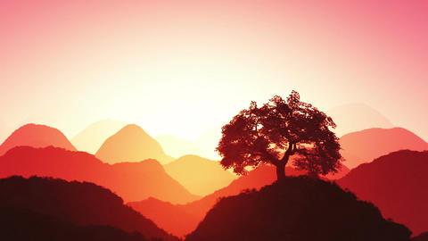 Magical Oriental Sunset over Mountains 05 Animation
