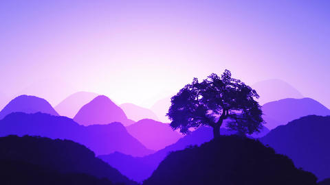 Magical Oriental Sunset over Mountains 07 Animation