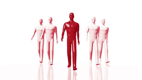 Men Walking 03 leader red Animation