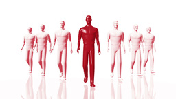 Men Walking 03 leader red Stock Video Footage