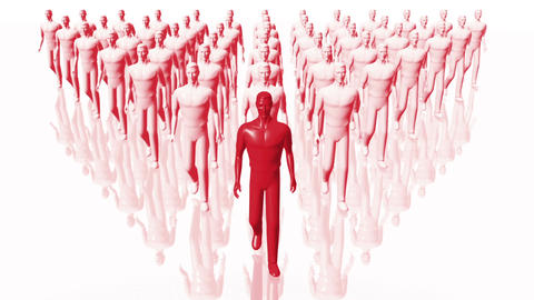 Men Walking 10 team and leader red Animation