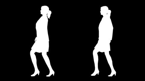 Women Walking Silhouette 01 Stock Video Footage