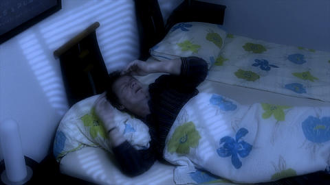 10661 man sleep wake up call Stock Video Footage