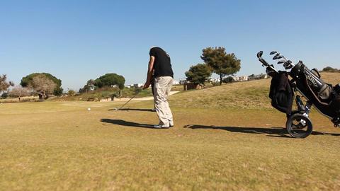 Golf golfer win winner boss competition pleasure relaxing weekend joy Footage
