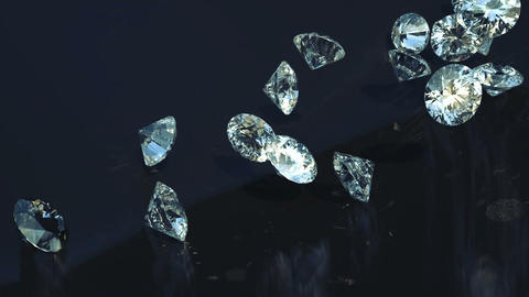 Loopable Large diamonds rolling over with slow motion Stock Video Footage