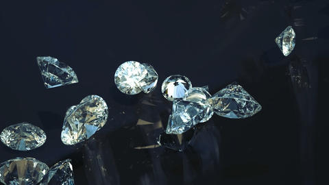 Loopable Large diamonds rolling over with slow motion Animation