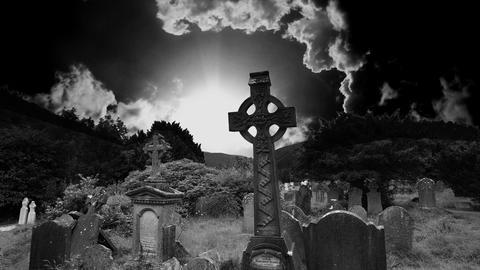Graveyard cemetery halloween tomb evil scary horror ghost pumpkin zombie death Animation