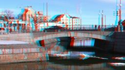 Stereoscopic 3D Helsinki 1 - stone bridge in downtown Stock Video Footage