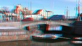 Stereoscopic 3D Helsinki 1 - stone bridge in downtown Footage