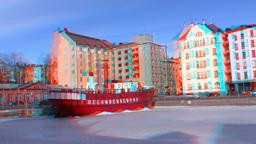 Stereoscopic 3D Helsinki 3 - ship restaurant in downtown Stock Video Footage