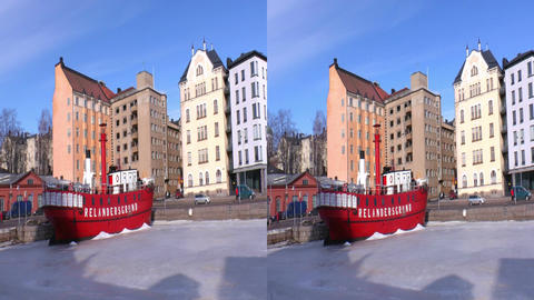 Stereoscopic 3D Helsinki 3 - ship restaurant in downtown Footage