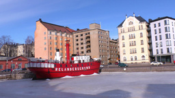 Stereoscopic 3D Helsinki 3 - ship restaurant in downtown Stock Video Footage