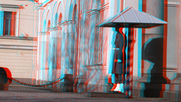 Stereoscopic 3D Helsinki 5 - honour guard in downtown Stock Video Footage