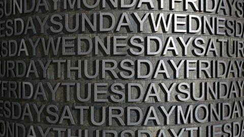 metal week day roll Stock Video Footage