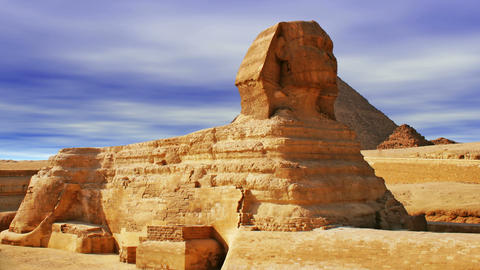 The Sphinx and Pyramid Stock Video Footage