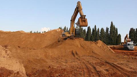 Heavy vehicles Heavy mining soil loader road vehicles... Stock Video Footage
