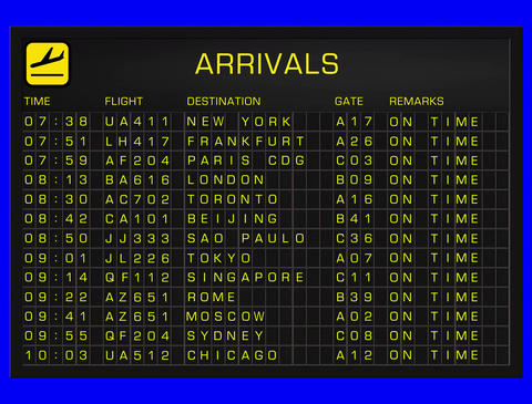 4K International Airport Timetable All Flights Get... Stock Video Footage