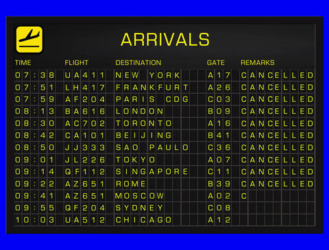 4K International Airport Timetable All Flights Get Cancelled ARRIVALS and 4K Full Blank Departures A Animation