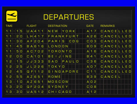 4K International Airport Timetable All Flights Get Cancelled DEPARTURES and 4K Full Blank Departures Animation