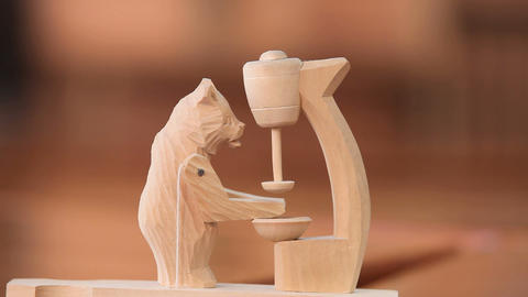 Bear wooden toy Stock Video Footage