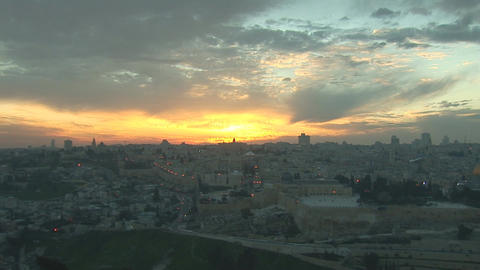 Jerusalem old sunset 2 Stock Video Footage