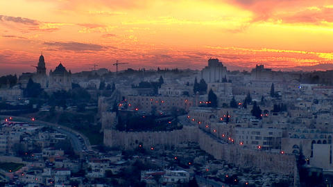 Jerusalem old sunset 4 Stock Video Footage