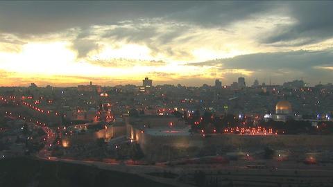 Jerusalem old sunset 14 Stock Video Footage