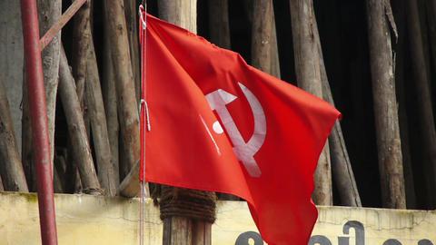 Сommunist flag Stock Video Footage