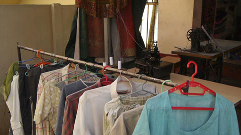 Indian tailoring shop Stock Video Footage