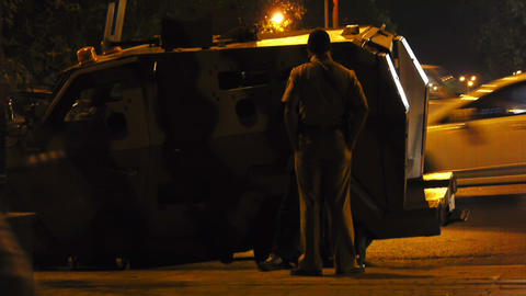 Military car in city Stock Video Footage