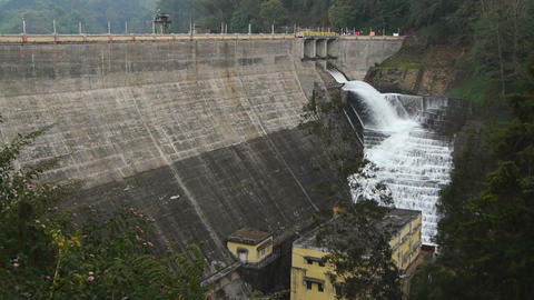 Water flowing from dam Stock Video Footage