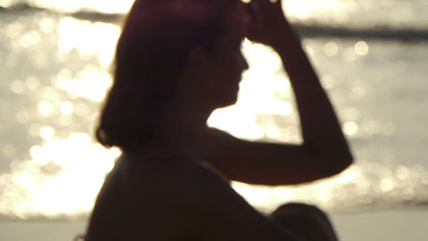 Woman at the beach Stock Video Footage