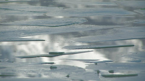 Floating ice on Towada Lake,in Aomori,Japan Stock Video Footage