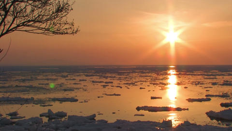 Landscape of drifting ice sea in Utoro,Hokkaido,Japan Stock Video Footage