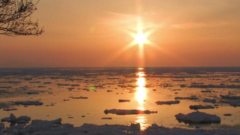 Landscape of drifting ice sea in Utoro,Hokkaido,Japan Stock Video Footage