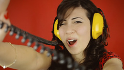Music woman red headphones sing playful Footage